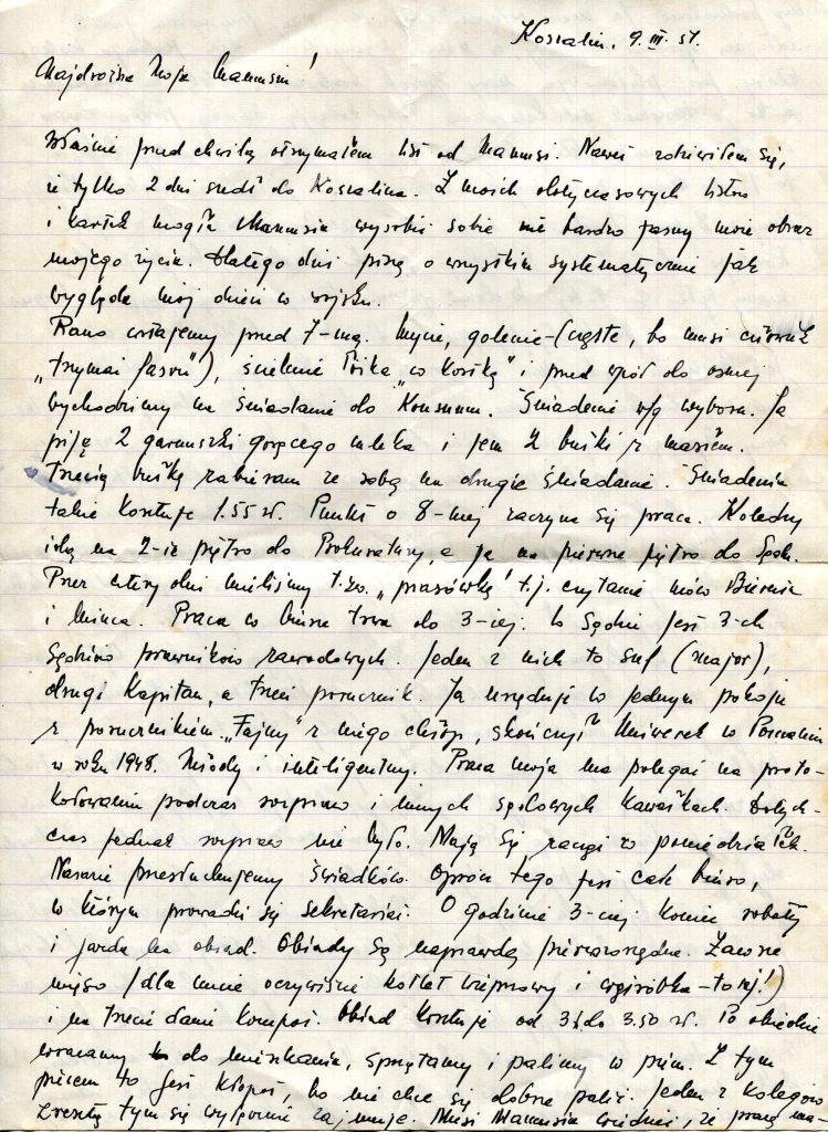 List od Stanisława Ćwikły do mamy, 9 marca 1951 r. Koszalin