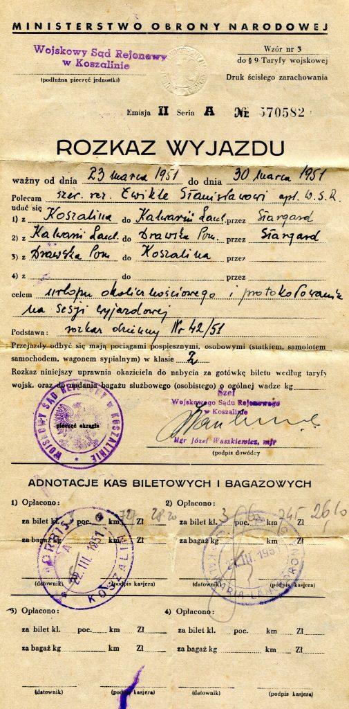 Rozkaz wyjazdu Koszalin 1951 r.