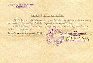Zaświadczenie o zatrudnieniu w sądzie Koszalin 1951 r.